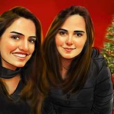 Christmas Theme Portrait Drawing
