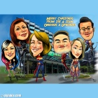 Group Superheroes Caricature