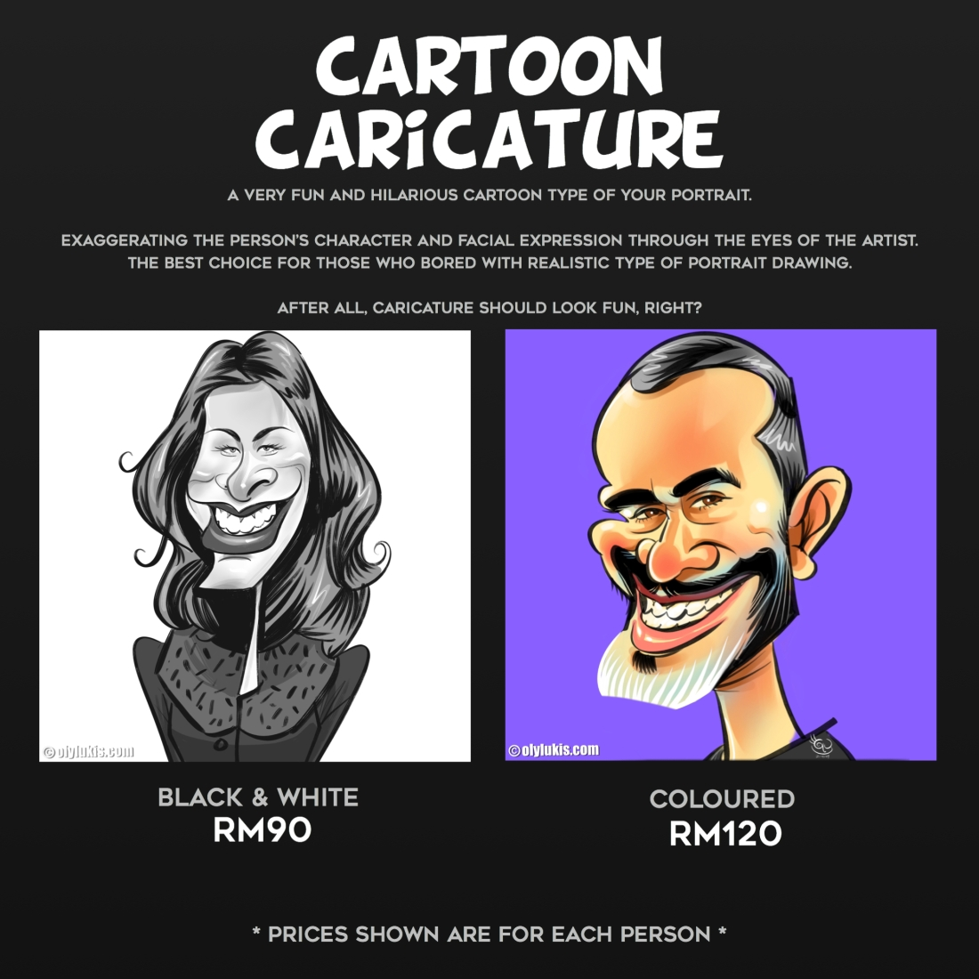OLYLUKIS CARTOON CARICATURE PRICE
